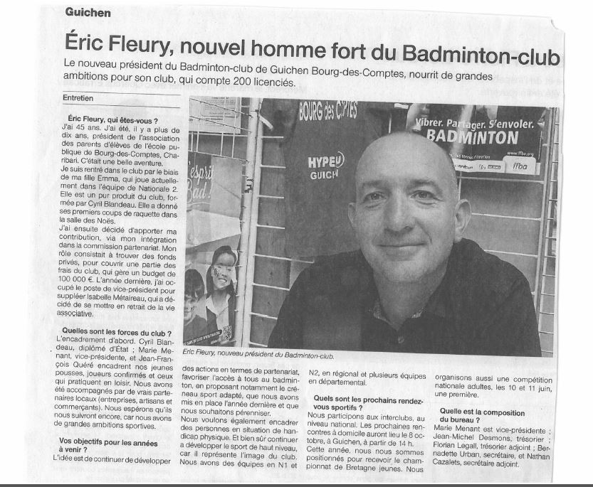 Article Ouest-France du 12/09/2016